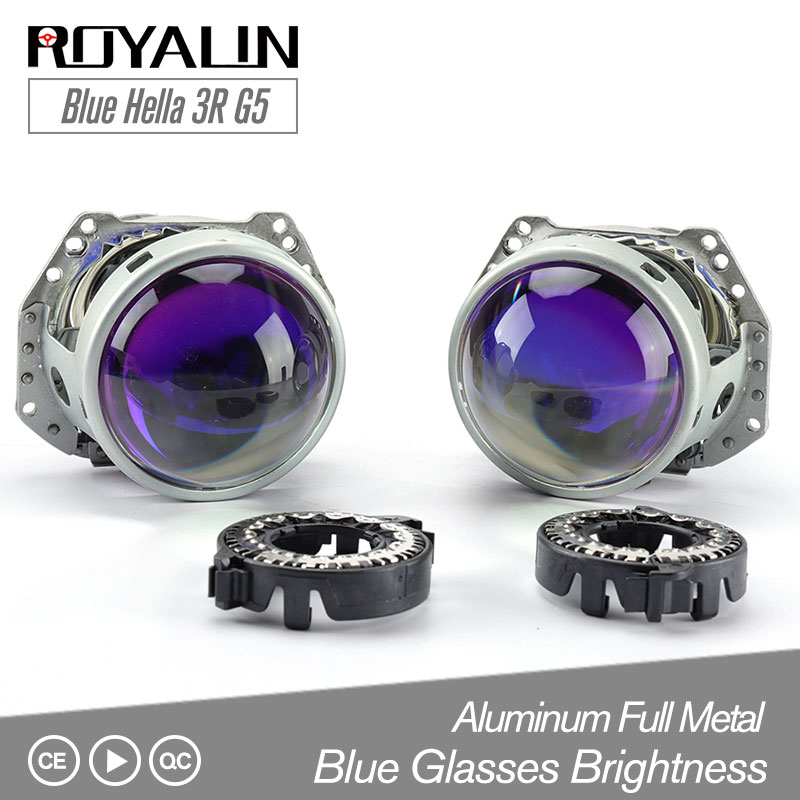 ROYALIN samochód stylizacji niebieski Hella 3R G5 bi-ksenonowe reflektory D2S projektor 3