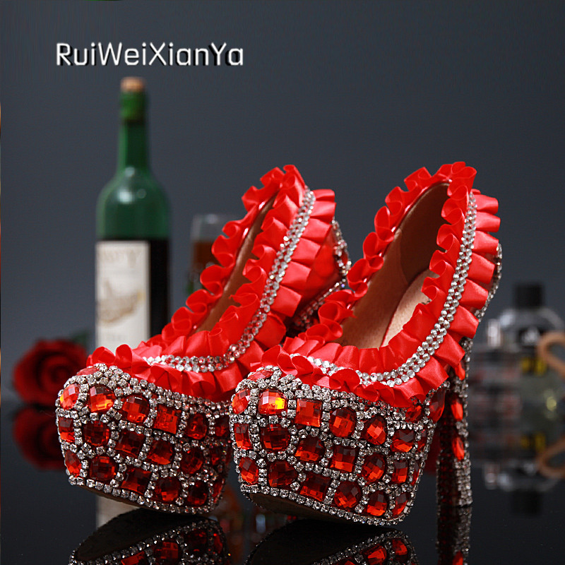 2017 New Arrive Spring Ladies Lace Shoes Woman Pumps High Heels Platform Red Wedding Shoes Crystal Diamond for Bridal Plus Size 2017 new fashion spring ladies pointed toe shoes woman flats crystal diamond silver wedding shoes for bridal plus size hot sale