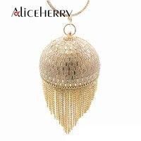 Women Wedding Bridal Clutch Golden Crystal Diamond Tassel Ring Evening Clutches Purses Wristlets Handbags Lady Circular bead Bag