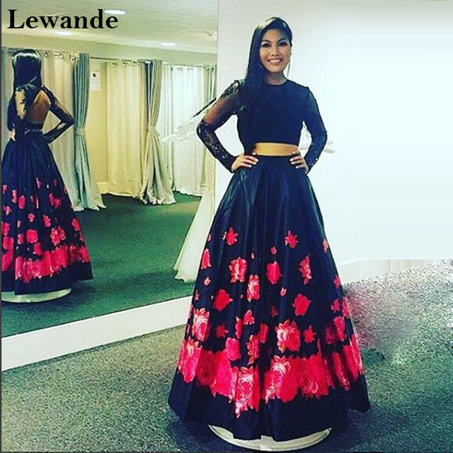 d115e4c701 Lewande 51195 Lace Floral Printed Two Piece Prom Dress A Line Satin  Homecoming Long Sleeves Pageant Gown Bridesmaid Dresses