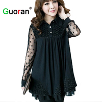 Free Shipping Black Plus Size Women Blouse Big Size 5XL Long Sleeve Female T Shirt Clothing