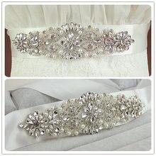 Настоящий кристаллами sash атлас широкий жемчуг свадебный пояса длинный пояс свадебные