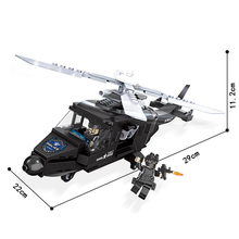 Police station SWAT Helicopter soldiers Military Series 3D Model building blocks city Boy Toys for children