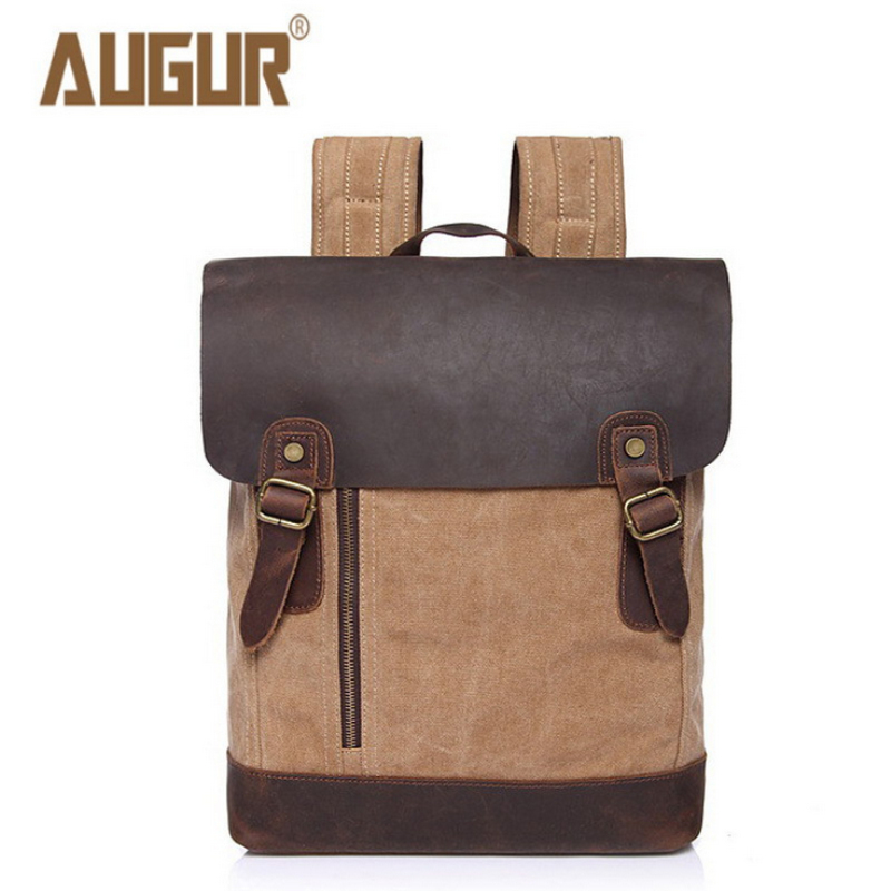 TOP-BAG Vintage Canvas +Crazy horse leather School Backpack