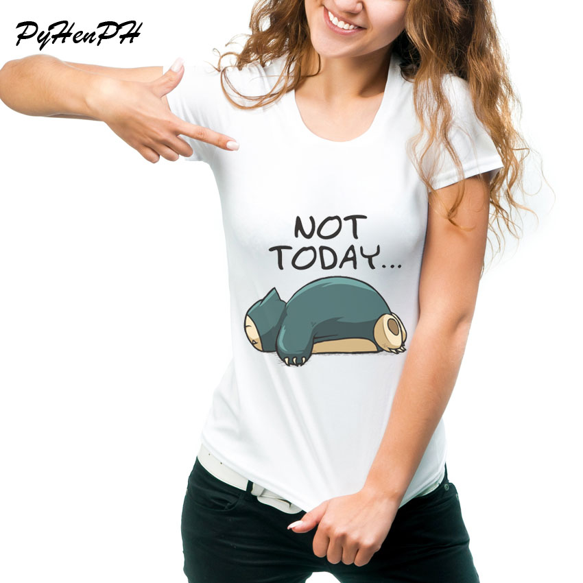 summer-style-t-shirt-women-font-b-pokemon-b-font-design-funny-tshirts-snorlax-not-today-printed-harajuku-t-shirt-women-tee-shirt-femme