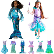 лучшая цена Kids Girl Little Mermaid Princess Ariel Dress Cosplay Costume Children Halloween Clothes Green Fancy Dress for Girls Party Prom