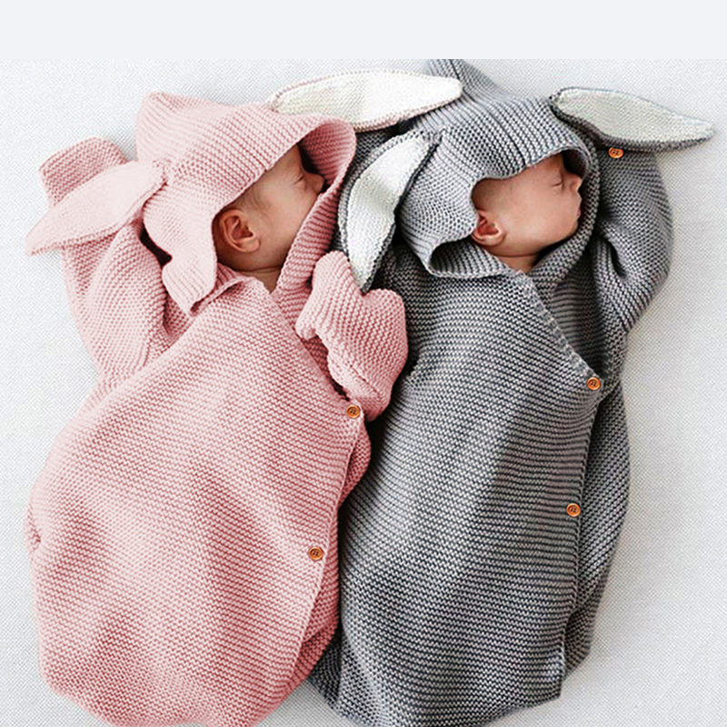 Baby Sleeping Bag Rabbit Shape Spring Autumn Brand Baby 0 1 Years Winter Warm Knitted Cute Baby Sleeping Bag Carrying Blanket