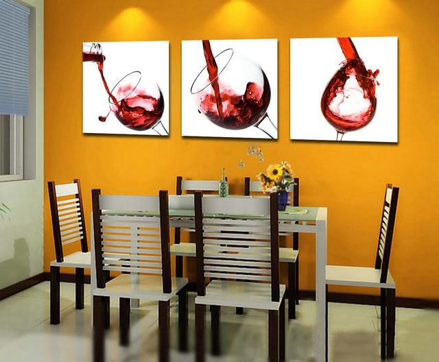 ჱ3 Piece Modern Kitchen Canvas Paintings Red Wine Cup Bottle Wall