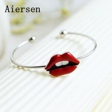 Aiersen Big Lips Bangle för kvinnor Real Sliver 925 Smycken Charms Öppna Manschett Bangles Alla hjärtans dag Present Original Design Armband