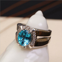 Men Ring Natural Topaz Standard Silver 2018 New Adjustable Engagement Green Simple Generous Luxury Jewelry Luxury Fashion