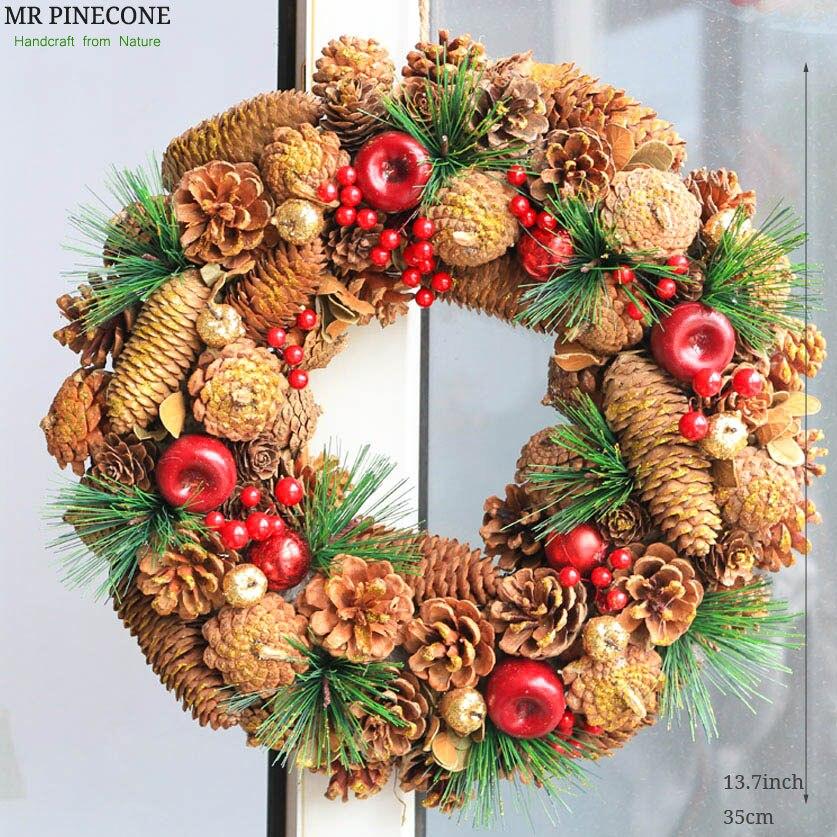 D13 7 Pinecone Wreath Christmas Wreath Wedding Decoration Home Decor Berry Apple Autumn Harvest Decor Gold