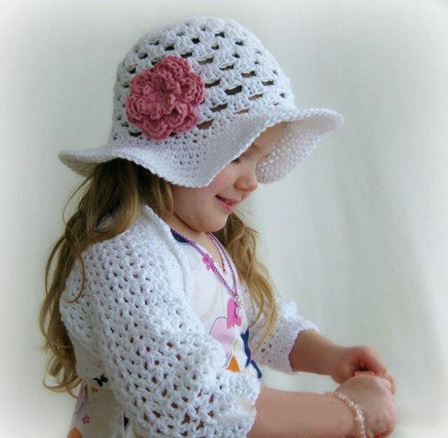 Niñas Crochet Sombrero Infantil Sombrero Para El Sol con La Flor de ...