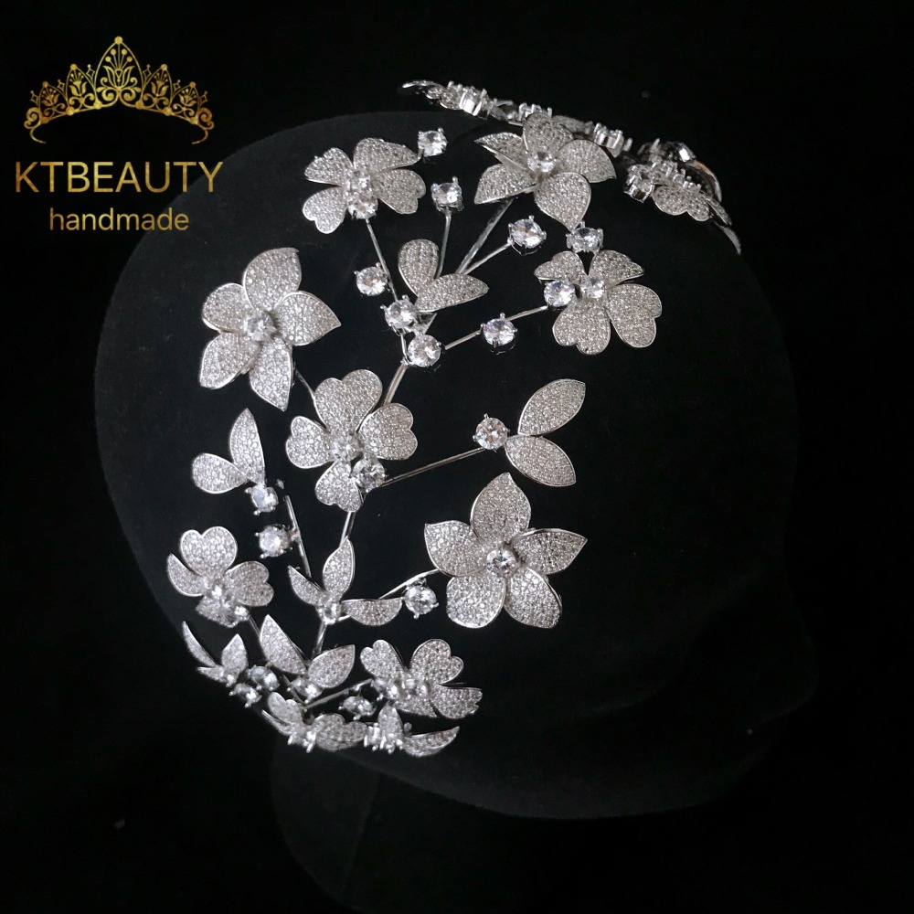 New Rhinestone Zircon Custom Made Tiara Flowers Fashion Hairband Royal Bridal Wedding Dressing Crown Accessory Women Jewelry