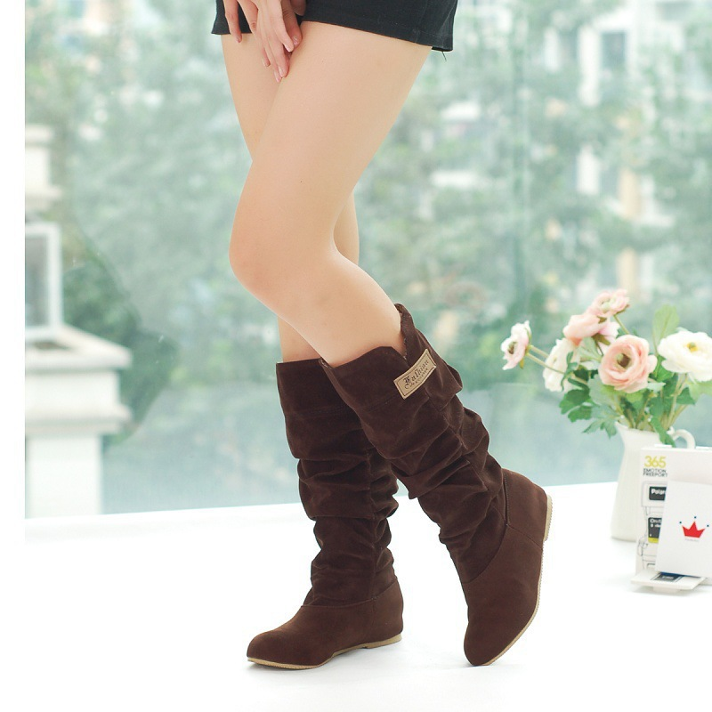 Women Lace Nubuck Flat Heels Winter Snow Boots Shoes Women's Flock Plush Padded Winter Long Riding Motorcycle Boots Shoes 5