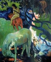 Post-impressionistische Art Landschapsschilderkunst El Caballo Blanco (De Witte Paard), 1898 Paul Gauguin Olieverf handgeschilderde