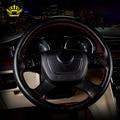 2016 KOPOHA MEX cubierta Genuino volante de cuero Coser dirección cubierta suave Clásico negro/gris/crema/de dirección del coche cubierta de la rueda