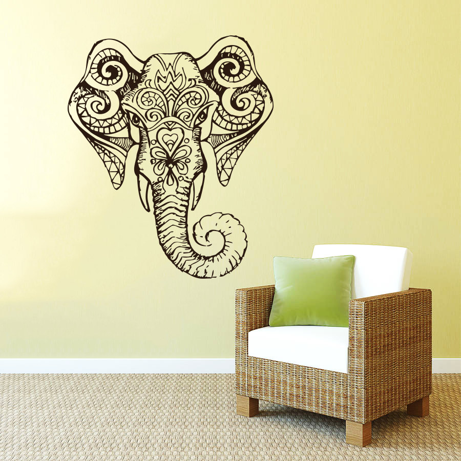 Tribal Patterned Bohemian Elephant Head Silhouette Wall Decals Home ...