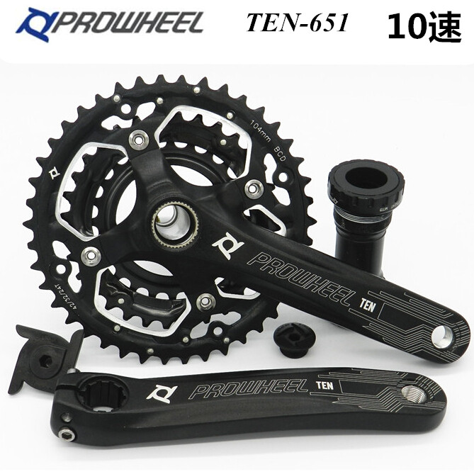 Prowheel Ten-651 Hollow MTB Mountain Bike Crankset Disc 24 32 42 for 10 Speed Bicycle Crank Crankwheel prowheel chariot 53t folding bike road bike crankset 170 crank bicycle chainwheel 170l 170mm for sp8 8s 9s speed