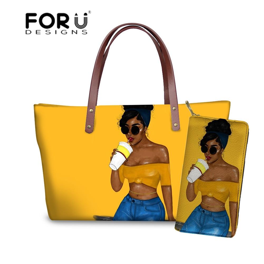 Bolsas de Ombro Bolsa para Senhoras Bolsas de Praia Forudesigns Afro Meninas Impressão Mulheres Bolsa Preta Bolsas & 2 Pçs – Set Fêmeas no Verão