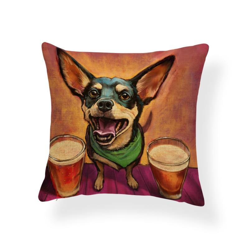 RECOLOUR  Hot sale Corgi Pug bulldog Cushion Cover throw pillows Home Decor Sofa cojines pillow covers decorative linen