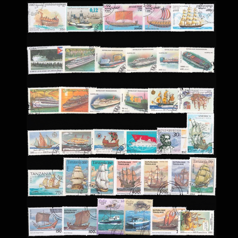 100 PCS/ Lot  Sailboat Boat Used Postage Stamps with post Mark Good Condition Collection Stamp No Repeat 4pcs chinese acient tower postage stamps unused new no repeat non postmark published in china best stamps collecting