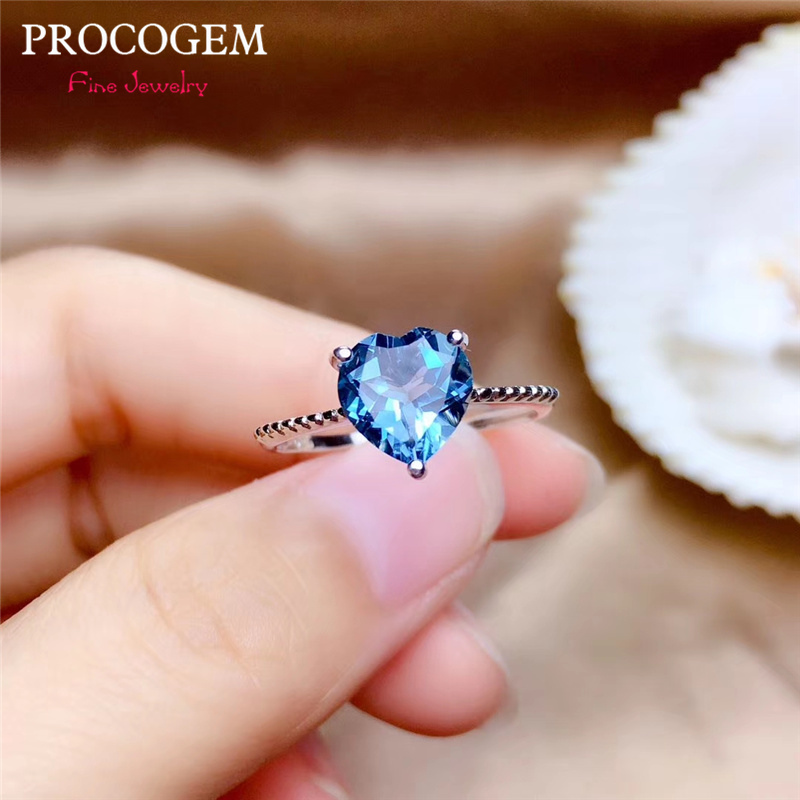 PROCOGEM Heart Natural Blue Topaz Rings for Women Engagement Gifts 2.0Ct Genuine gemstone Fine jewelry 925 Sterling Silver #533