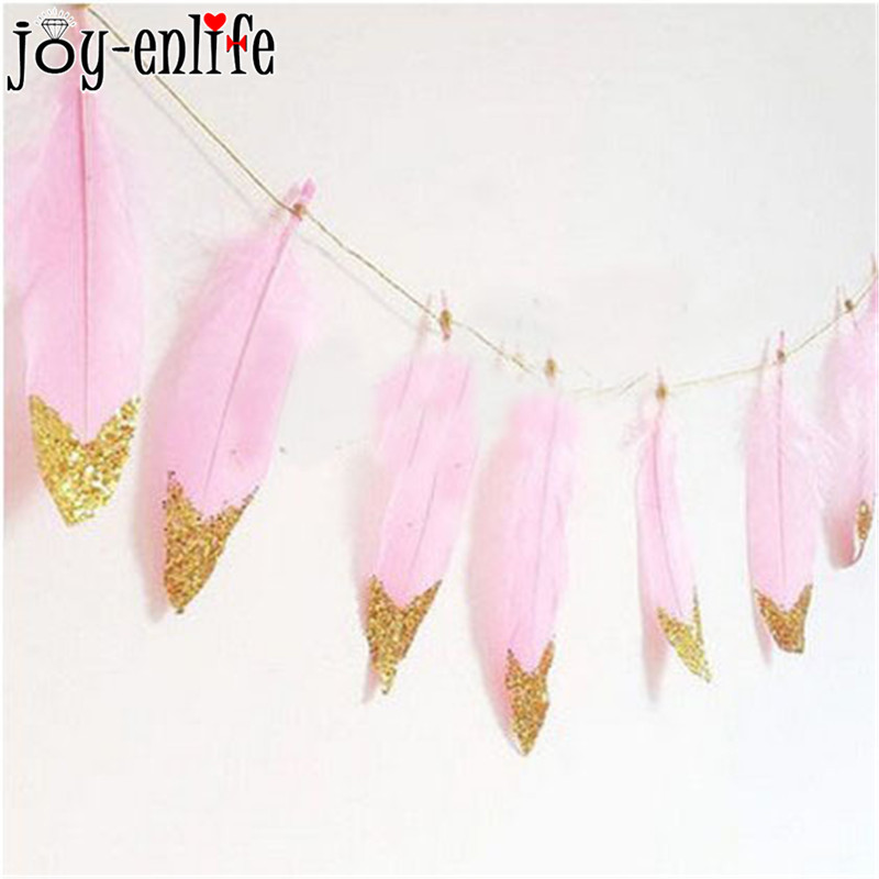 2M Beautiful Pink Feather Garlands With Gold Glitter Powders Hanging Garlands Pastel Wedding Bunting Banner Girls Room Decor