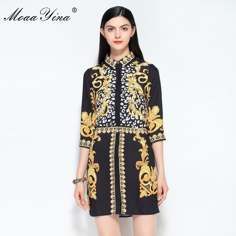 MoaaYina Fashion Designer Runway Dress Summer Women Turn down Collar Vintage Floral Print Casual Holiday Black