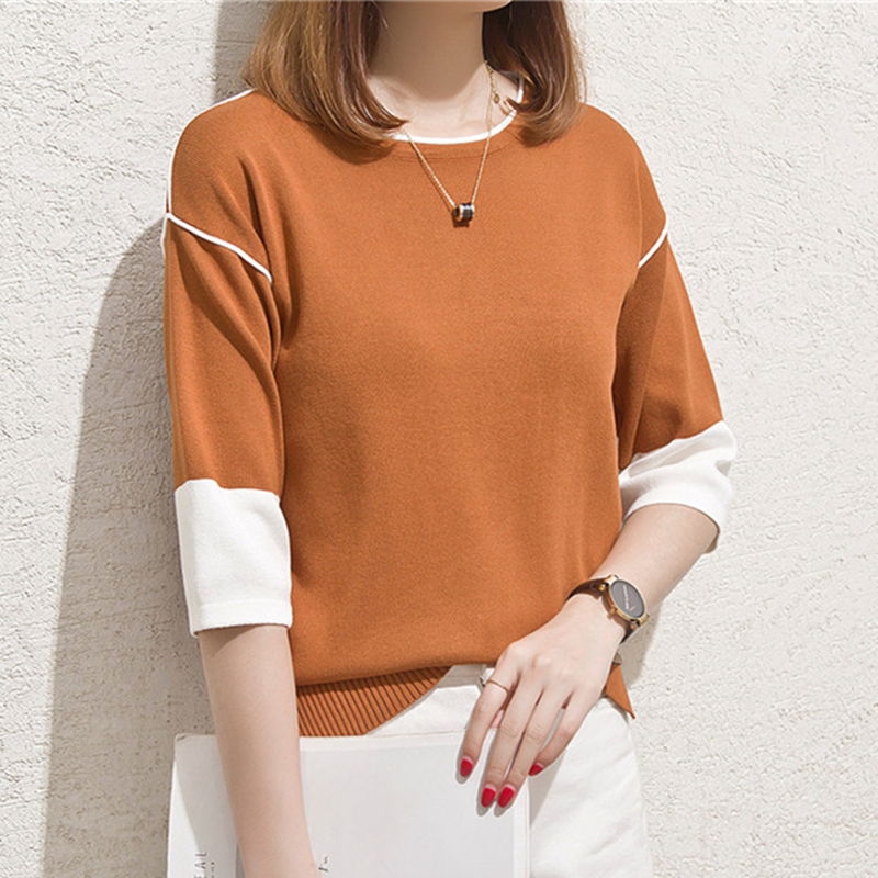 Korean Casual Knitted Women Sweaters and Pullovers Short Sleeve Thin Knit Sweater Solid Crop