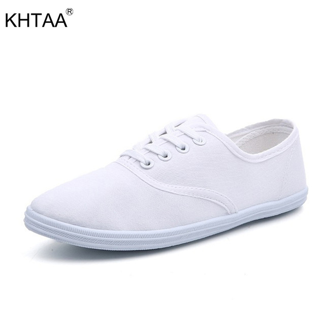 4bfa2ca025 Women White Shoes New Canvas Shoes Lace Up Autumn Woman Flat Female Candy Color  Fashion Breathable Ladies Solid Casual Plus Size
