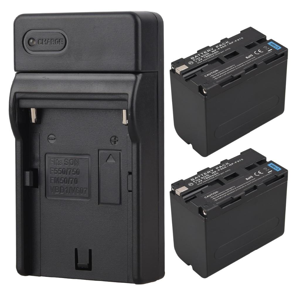 2 pièces batterie haute capacité 7800 mAh Bateria NP-F960 NP-F970 + chargeur pour batterie Sony F960 F970