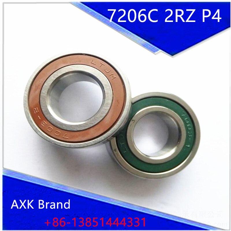 1pcs 7206 7206C 2RZ P4 30x62x16 AXK Sealed Angular Contact Bearings Speed Spindle Bearings CNC ABEC-7