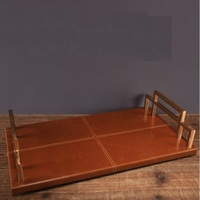 36x20cm Rectangle Serving Plate with Leather Upholstery / 8cm High / Hand Made Crafts Brush Metal Handle