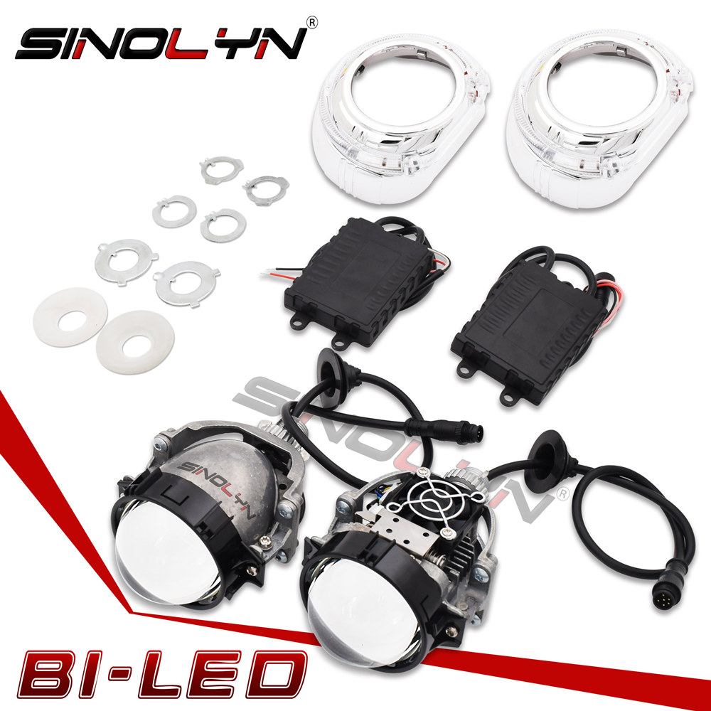 Sinolyn Car Bi LED Headlight Projector Lens Lights Angel Eyes DRL Retrofit DIY 35W Headlamp Hi/Lo Lenses SL2 H1 H4 H7 9005 90006 sinolyn 35w 3 0 inch bi xenon square lens projector hid headlights full metal headlamp glasses lenses diy kit hi lo car styling