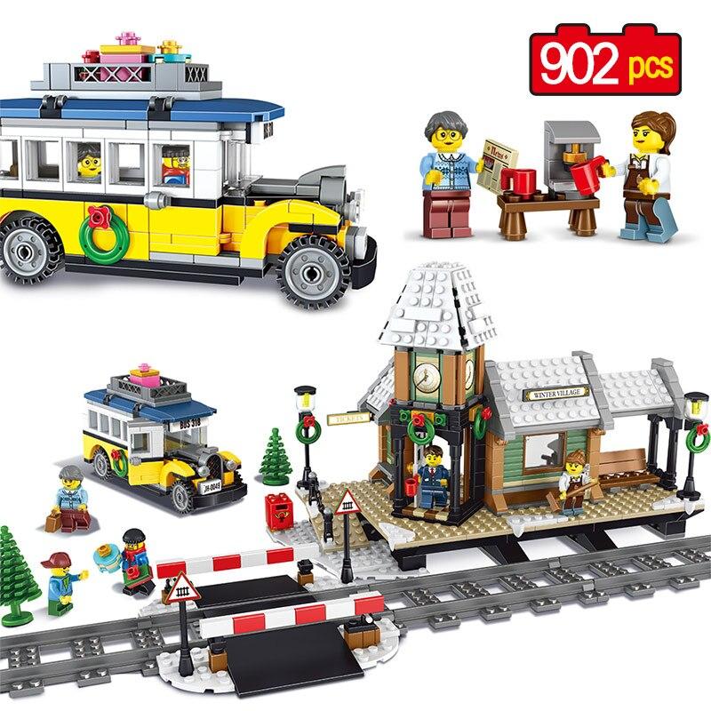Blocs de construction de série de ville 902 pièces modèle de gare d'hiver technique Compatible briques de legoing amis jouets pour enfants GB14
