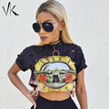 Sexy Hole Crop Top 2016 Print GUNS N ROSES T Shirt Women Top Tees Shirt Femme Short Sleeve T-Shirt Female Fashion Summer Tops