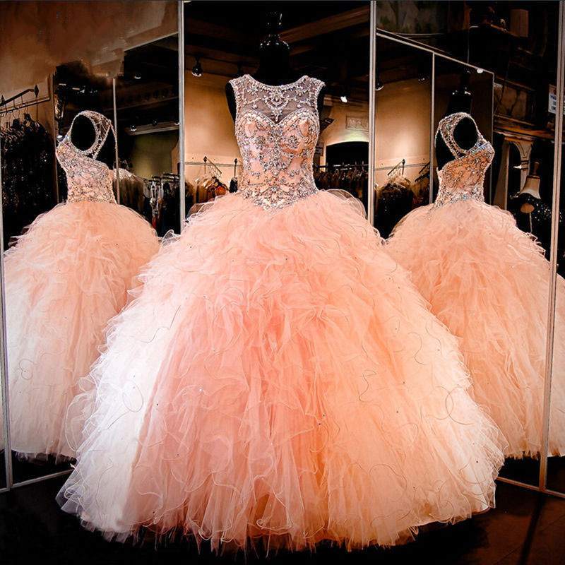 Peach Puffy 2019 Cheap Quinceanera Dresses Ball Gown Organza Ruffle Beaded Crystals Party Sweet 16 Dresses