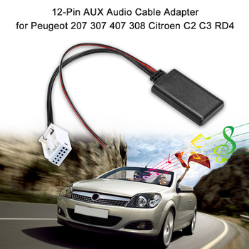 AUTO AUX Audio Cable Adapter 12Pin Fit for Peugeot 207 307 407 308 Citroen C2 C3 RD4 BT Stereo Wireless Radio image