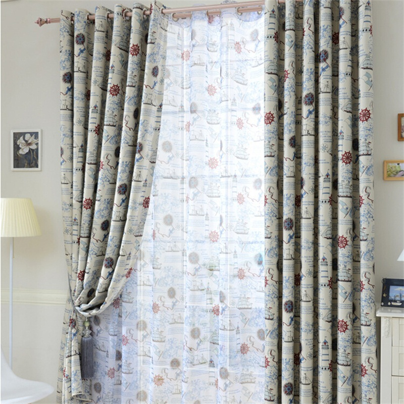 Online Shop Mediterranean Nautical Design Sheer Window Curtains For Boys Kids Bedroom Living Room Full Shading Cloth Cortinas P237Z40