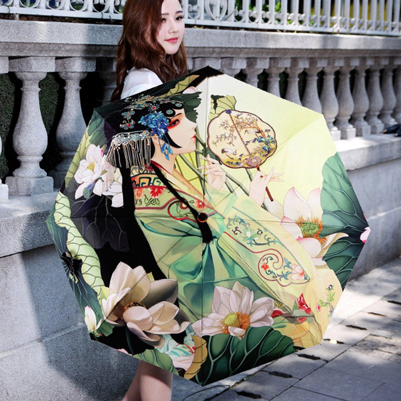 4664b53760fd Best Selling Outdoor Sun Umbrella Women Anti UV Parasol Folding Umbrella  Digital printed Korean Style Rain Umbrellas