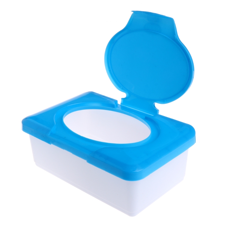 Dry Wet Tissue Paper Case Baby Wipes Napkin Storage Box Plastic Holder Container  Blue