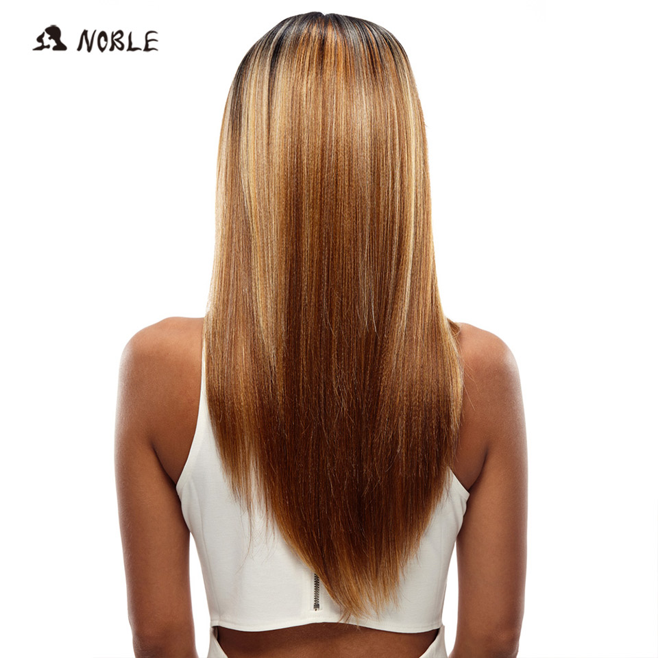 Noble Long Straight Synthetic Hair Lace Front Paryk 24 tums Paryk - Syntetiskt hår - Foto 4