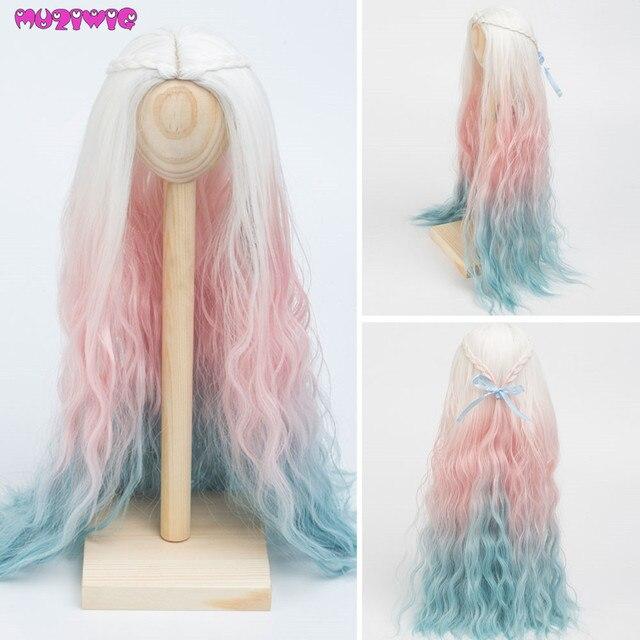 בובת פאות חום עמיד חוט ארוך עמוק מתולתל לבן ורוד כחול צבע שיער עבור 1/3 1/4 1/6 BJD/SD בובות