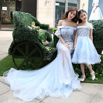 Mother and Daughter Tutu Dress Girls Evening Ball Gown Formal Wear Mother Daughter Wedding Dress Off Shoulder Family Clothing