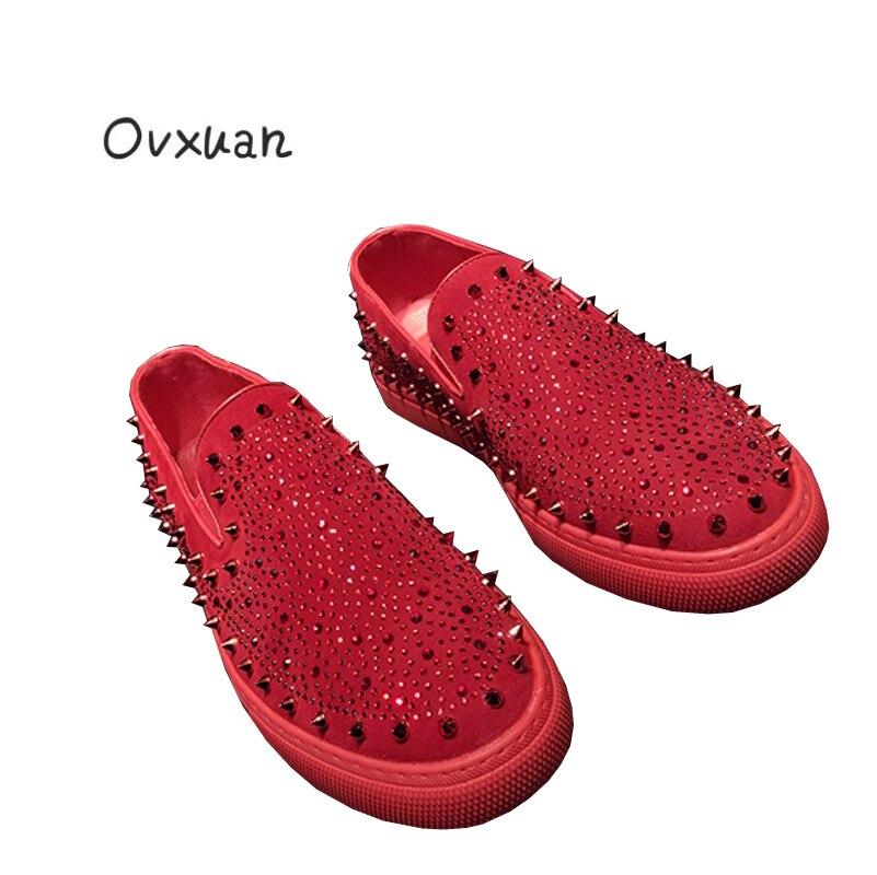 Rivet Noir Cl Mariage Robe Des Ovxuan rouge Hommes De Banquet Rouge Appartements Chaussures Balamp; Strass Conception Mocassins Même Avec Couleurs Mélangées vmYgI6bf7y