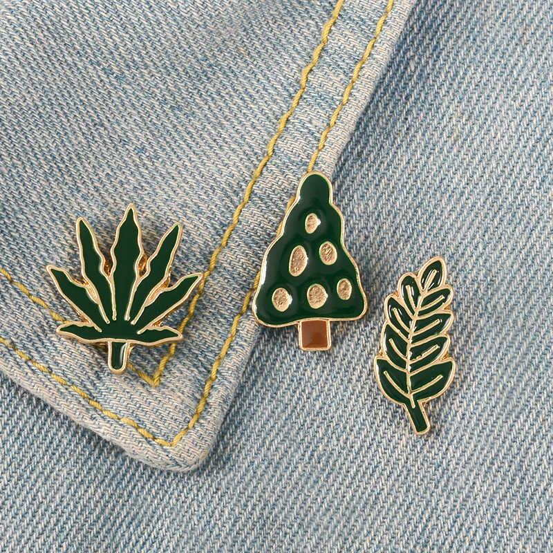 Grün Palm Blatt Baum Blätter Emaille Pins Tiny Cartoon Pflanzen Broschen Für Frauen Männer Denim Jacken Revers Pins Abzeichen Sommer schmuck