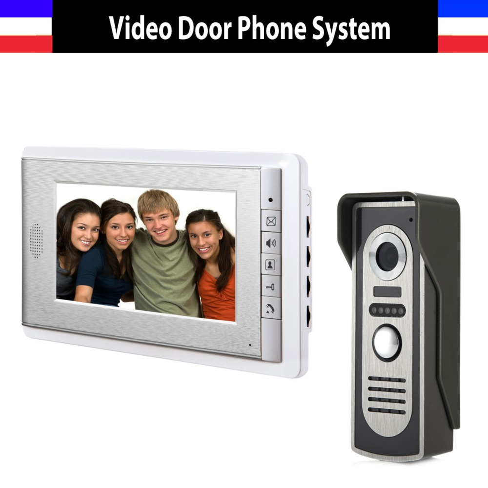 7 Inch Screen Color Video Door Phone Intercom System Video Door Phone Intercom Doorbell Kit IR Night Vision 1 Camera 1 Monitor 7 inch color tft lcd wired video door phone home doorbell intercom camera system with 1 camera 1 monitor support night vision