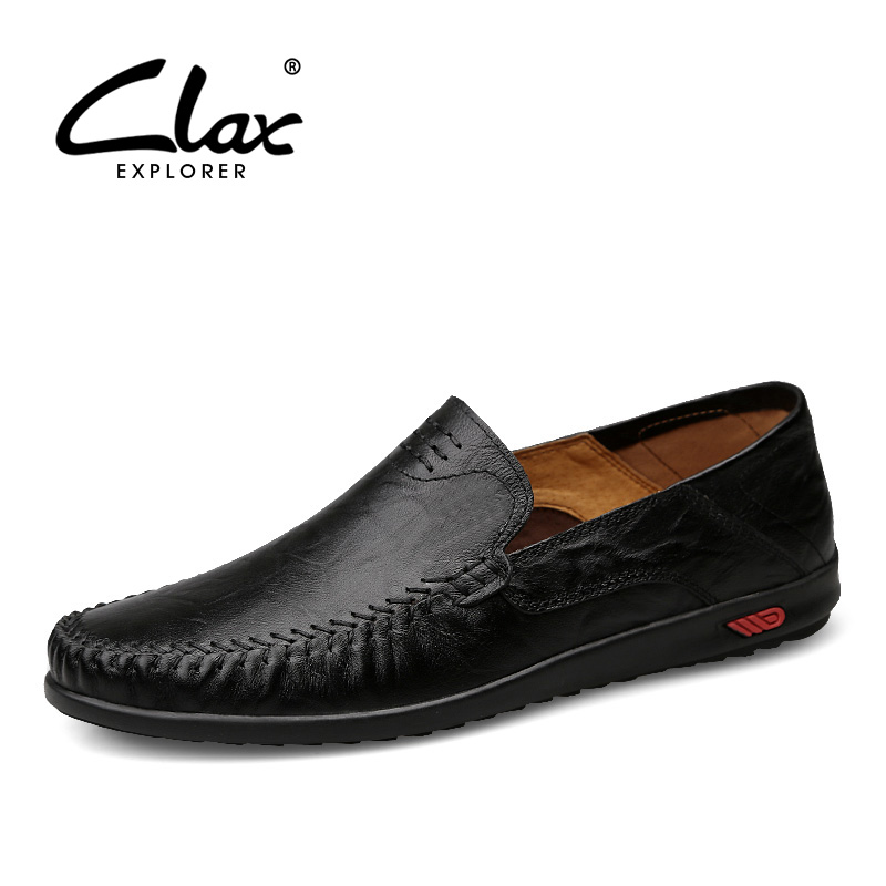 CLAX Men's Leather Shoes Slip on 2018 Autumn Shoe Genuine Leather Male Flats Loafers Handmade Casual Footwear Moccasins Soft vesonal breathable light men moccasins loafers shoes male genuine leather spring summer driving soft flats footwear slip on boat