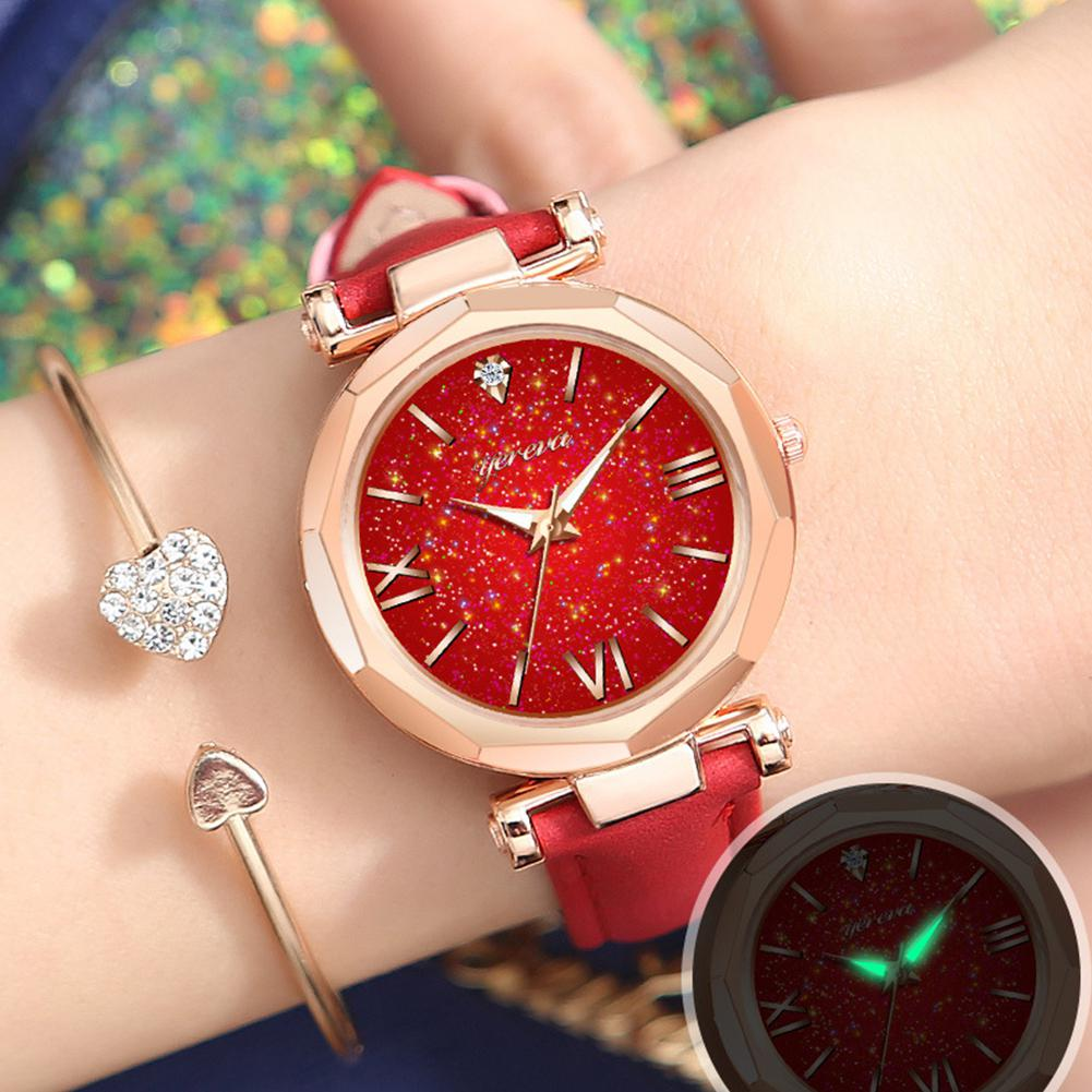 2019 New Women Wristwatches Leather Strap Exquisite Rhinestone Luminous All-match Quartz Watch Female Watches (without Chain)