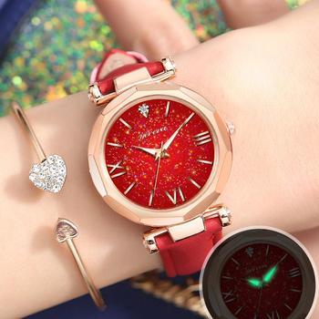 2019 Nuevos Relojes De Pulsera Para Mujer, Correa De Cuero, Exquisito Diamante De Imitación Luminoso, Reloj De Cuarzo Para Mujer, Relojes (SIN Cadena)